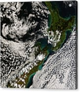 Satellite View Of New Zealand Acrylic Print