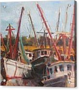 3 Shrimpers At Dock Acrylic Print
