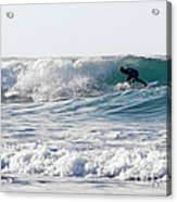 Surfers At Porthtowan Cornwall Acrylic Print
