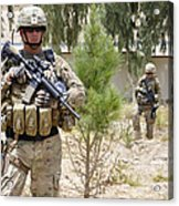 U.s. Army Soldier Stands Guard Acrylic Print