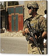 U.s. Army Specialist Provides Security Acrylic Print