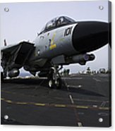 An F-14d Tomcat On The Flight Deck Acrylic Print