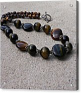 3595 Tigereye And Bali Sterling Silver Necklace Acrylic Print