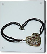 3597 Vintage Heart Brooch Pendant Necklace Acrylic Print