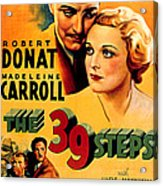 39 Steps, The, Robert Donat, Madeleine Acrylic Print