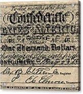 Confederate Banknote Acrylic Print