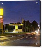Estonian Gas Station At Night Acrylic Print by Jaak Nilson