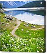 Mountain Lake In Jasper National Park Acrylic Print