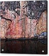 Painted Rocks At Hossa With Stone Age Paintings Acrylic Print
