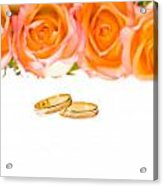 4 Red Yellow Roses And Wedding Rings Over White Acrylic Print