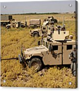 U.s. Army Soldiers Provide Security Acrylic Print