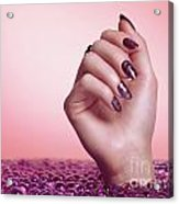 Woman Hand With Purple Nail Polish Acrylic Print