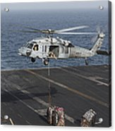 A Mh-60s Knighthawk Conducts A Vertical Acrylic Print