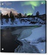 Aurora Borealis Over Tennevik River Acrylic Print