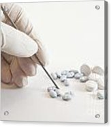 Gloved Hand And Medicinal Pills Acrylic Print