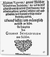 Hans Von Grimmelshausen Acrylic Print