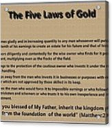 5 Laws Of Gold Acrylic Print