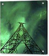 Powerlines And Aurora Borealis Acrylic Print by Arild Heitmann