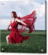 Woman In Red Series Acrylic Print