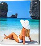 Woman On The Beach Acrylic Print