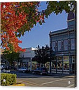 5th And G Street In Grants Pass With Text Acrylic Print
