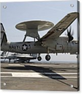 An E-2c Hawkeye Lands Aboard Acrylic Print by Stocktrek Images