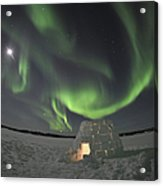 Aurora Borealis Over An Igloo On Walsh Acrylic Print