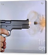 Handgun And .45 Caliber Bullet Acrylic Print