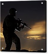 Partially Silhouetted U.s. Marine Acrylic Print