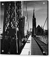 Pedestrian Suspension Footbridge The Greig Street Bridge Over The River Ness Inverness Highland Scot Acrylic Print by Joe Fox