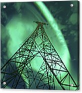 Powerlines And Aurora Borealis Acrylic Print by Arild Heitmann