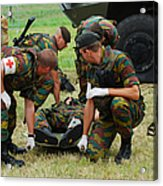 Soldiers Of A Belgian Infantry Unit Acrylic Print by Luc De Jaeger