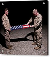 U.s. Marines Fold The American Flag Acrylic Print