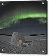 Aurora Borealis Over An Igloo On Walsh Acrylic Print