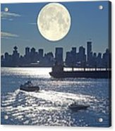 Full Moon Over Vancouver Acrylic Print