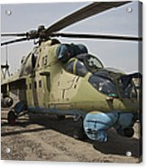 An Mi-35 Attack Helicopter At Kunduz Acrylic Print