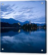 Dusk Over Lake Bled Acrylic Print
