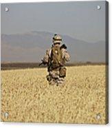U.s. Marine Patrols A Wadi Near Kunduz Acrylic Print