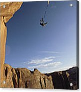 A Base Jumper Leaping With A Parachute Acrylic Print