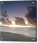 A Beach During Misty Sunset With Glowing Sky Acrylic Print