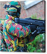 A Belgian Paratrooper  Handling The Fn Acrylic Print