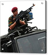 A Belgian Paratrooper Manning A Fn Mag Acrylic Print