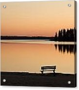 A Bench Silhouetted At Sunset Near The Acrylic Print