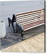 A Bench To Rest In A Public City Park Acrylic Print