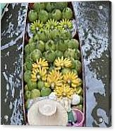 A Boat Laden With Fruit At The Damnoen Saduak Floating Market In Thailand Acrylic Print