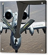 A Boom Operator Refuels An A-10 Acrylic Print by Stocktrek Images