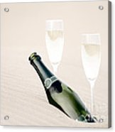 A Bottle Of Champagne With Two Glasses Acrylic Print