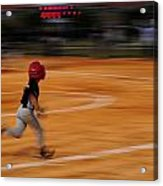 A Boy Runs During A Baseball Game Acrylic Print by Raul Touzon