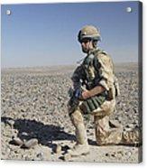 A British Army Soldier On A Foot Patrol Acrylic Print