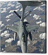 A Chilean Air Force F-16 Refuels Acrylic Print